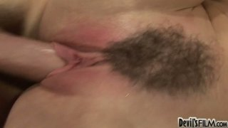 Image: The hairy pussy of slutty and horn-mad Ray Veness gets polished