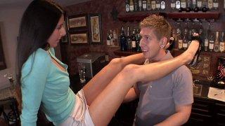 Black hared MILF Nikki Daniels with small boobs seduces bartender image