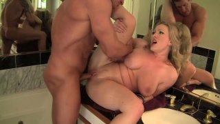 Rather flexible blondie Vicky Vixen gets fucked from behind by Lee Stone image