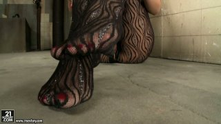 Touchy blonde babe Sophie_Moone brags with her pantyhose_outfit image