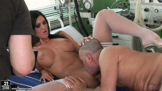 Scorching black haired babe Cloe gets boned in the hospital image