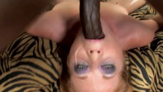 Pale dick sucker Tiffany Sweet gives a solid blowjob to a black tool image