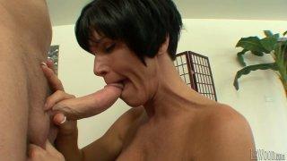 Image: Smiling Francesca Le sukcs Mark Wood's dick while Shay Fox waits for cum