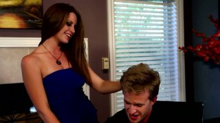 Horny chick Delilah Blue seduces her boyfriend and sucks his rod image