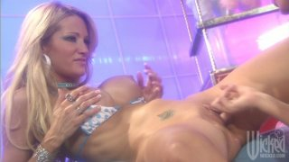 Jessica Drake and Kirsten Price playing hard DP games with dildoes image