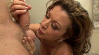 Lustful MILF slut Raquel Devine gives hot titjob and blowjob image