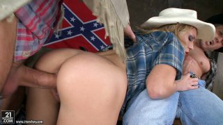 Country girl Nataly Von gets her ass railed in threesome image