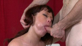 Fabulous MILF sucks and rides big young cock_on the floor image