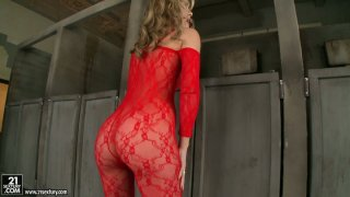 Provocative Sophie Moone poses on a cam_wearing hell seductive outfit image