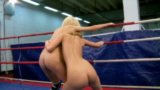 Image: Crazy bitches Antonya and Blanche eat each other in a 69 position after a furious fight on a ring