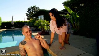Horny Zoey Holloway_sucks a hard dick near the pool and rides intensively image