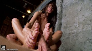 Image: Long haired brunette Randi Wright facesitting and footjob