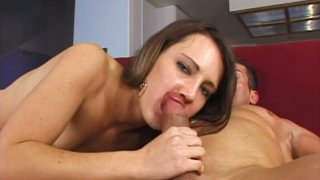 Horny blonde bitch Mia Freak tops huge_white cock with her cunt image