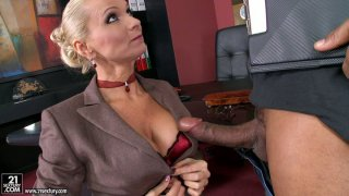 Horny boss Winnie fucks two guys in her office image