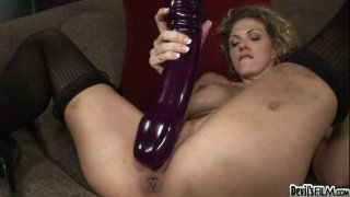 Roxanne Hall operates with  gigantic dildo image