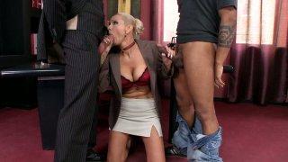 Image: MILF blonde slut Winnie gets fucked hard in a hardcore threesome