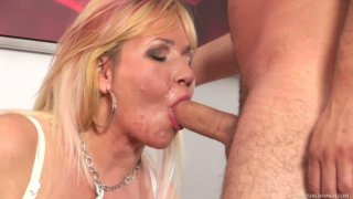 Chubby mature blonde Emily is hammered by Charlie from behind image