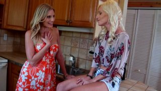Skinny ugly shit Randi Tango with big nose fucks her girlfriend in the kitchen image