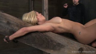 Tremendous blonde MILF Cyd Black gets her muff tortured on the wooden brick image