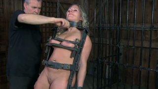 Disgraceful MILF Dia Zerva gets locked in metal construction image