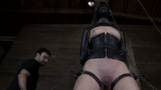 Sexy slave girl Hazel Hypnotic gets chained and blindfolded image
