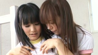 Cute young babe Yuri Hamada loves to touch and play with other girls image