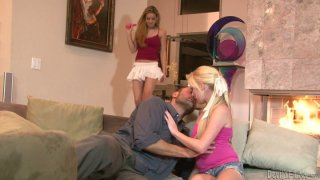 Blond babe Elaina Raye is fucking in threesome image
