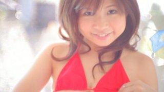 Buxom Japanese redhood beauty Natsuko licks ice cream image