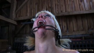 Ugly blonde chick Cherry Torn is fucked with a small vibrator image