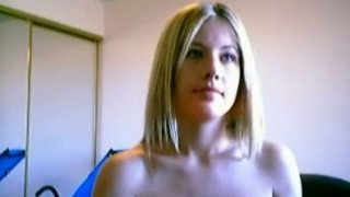 Image: Curvaceous blonde chick exposes her goodies on webcam video