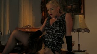 Sophie Lynx eats and fucks blonde mistress with pussy beads image
