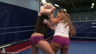 Feisty Angel Long and Cathy Heaven are fighting on a boxing ring image