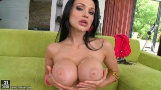 Magnificent brunette porn star Aletta Ocean gives double blowjob image