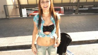 Hilarious straight haired sexy_slut shows her tits_on cam image
