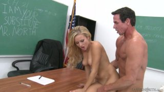 Spoiled teacher eats the juicy pussy of naughty student Mae Mayers image