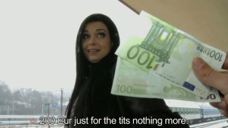 Horn-mad brunette Victoria Blaze is ready to show her tits for 200 EUR image
