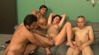 One zesty brunette chick Ashli Ames VS three well hung dudes image