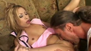 Cute girl Kat opens her legs for brutal dude with stiff rod image