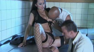 Rapacious_brunette_claudia_adams_gonna_suck_two_dicks_in_dirty_kitchen - suck two dick image