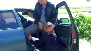 Lola blows the dick in a car image