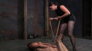 Image: Vulnerable blond head Tracy gets hogtied and humiliated on the floor