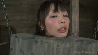 Korean BDSM fan Marica Hase gets her hairy pussy stimulated with a dildo image