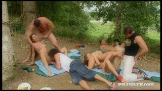 Picnic turned into wicked orgy with sexy babe Gilda Roberts image