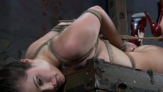 Image: A bit plump brunette Charlotte Vale gets hogtied tight