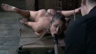 The same dildo goes in the mouth and then in the pussy of the horny brunette image