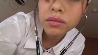 Sultry nurse Jun Rukawa seduces the patient and blows his_prick image