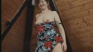 Image: Really ugly bitchie old whore Rosamund rides a cock in the attic