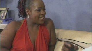 Image: BBW ebony mom Dimples sucks and rides thick black dick