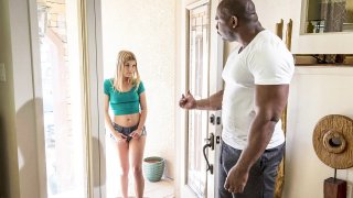 Petite Blonde IMPALED on Big Black Dick image