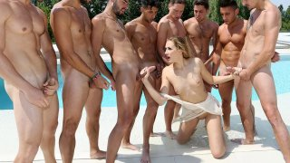 Linda Leclair gets bukkaked by an entire soccer team image